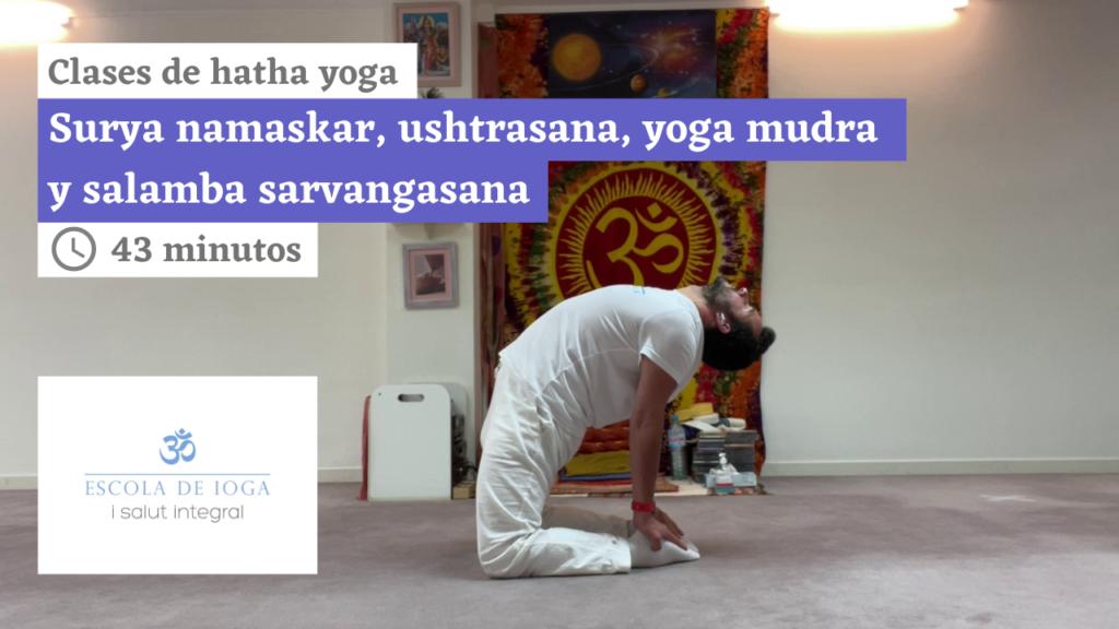 Hatha yoga: surya namaskar, ushtrasana, yoga mudra y salamba sarvangasana